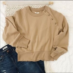Madewell button detail sweater sandstone L